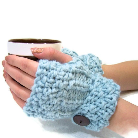 Blue Chunky Knit Fingerless Mittens, Button Cuff Fingerless Mittens, Pale Blue Armwarmer, Winter Trends, Fall Trends, Chunky Knits, Big Knit