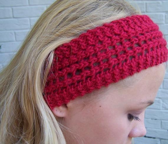 Red Knit Earwarmer, Red Knit Wide Headband, Lace Knit Headband Red Lambswool, Red Winter Headband, Winter Trends, Wide Knit Earwarmer Red