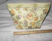 Quilted Travel bag cotton birdhouse fabric