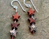 Triple Star Triple Jasper Earrings - Sterling Silver