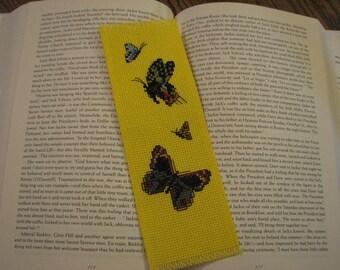 Yellow Hand Cross Stitch Butterflies Bookmark