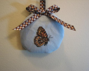 Now on Sale   Hanging Hand Cross Stitched Butterfly Lavender Sachet