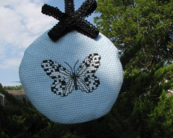Now on Sale   Cross Stitch Black and White Butterfly Lavender Sachet