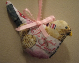 Now on Sale  It's all about Love Hanging Bird Sachet Filled with Organic Lavender