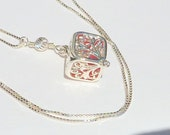 Unusual and Very Attractive Square Locket with Rare Red Seaglass
