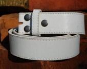 Women's or Men's Distressed Vintage Style White Leather Belt Strap, Unisex Leather Belt Strap, White, Black, or Brown Leather Belt Strap