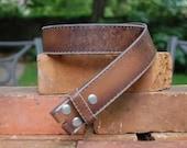 Distressed Vintage Style Brown Leather Belt Strap