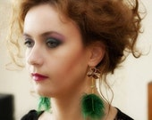 ON SALE- Green feather earrings with velvet ribbon and green crystal quartz
