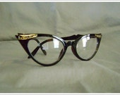 Clear Lens DEADSTOCK Retro CAT EYES Rockabilly with Rhinestones Sunglasses (Tortoise)