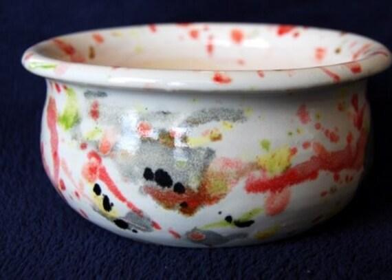 Flower Pot Confetti Red Yellow and Black Splattered Flower Pot Ceramic Planter Patio Garden