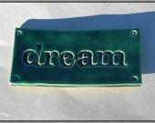 dream Magnet - Handmade Embossed Ceramic Tile in Dark Green