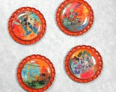 Foliage Magnets Colorful Leaves and Branches on Orange Flattened Bottle Caps - Handmade - Set of 4