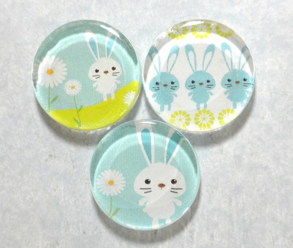 Easter Bunnies Handmade Glass Magnets Trio Set in Slider Gift Tin - Spring Green and Blue
