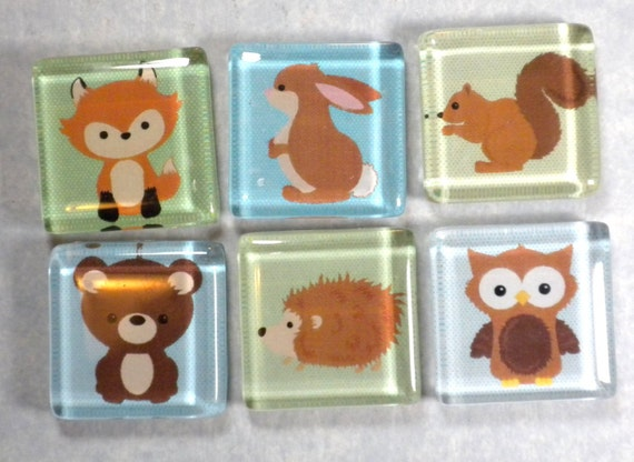 Fridge Magnets - Woodland Animals Friends Handmade Glass in Metal Gift Tin - Set of 6 with a Bear Owl Fox Squirrel Hedgehog and Bunny