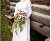 ON SALE Vintage Wedding Gown Lace 1970s Bridal Gown Dress Retro