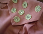 Vintage 1950s salmon pink 2 pcs dress with jacket with daisy lace trims measures 40 30 40