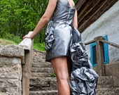 Original Charcoal Gray and Black Cocktail Dress Evening Gown SALE PRICE