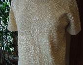 Pearls Sequined British Hong kong beaded sweater shirt blouse Beautiful