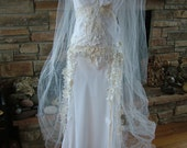 Wedding dress bridal gown fairy wedding dress handmade hand cut beaded lace bias cut bridal gown hippie chic