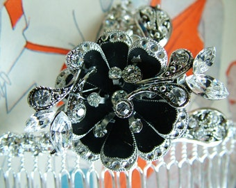 Rhinestone Hair Comb with Vintage Pins