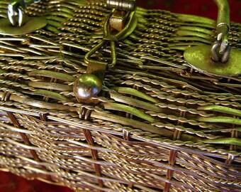 SALE 50 percent off Vintage Gold Simon Straw Bags Evening Purse British Hong Kong