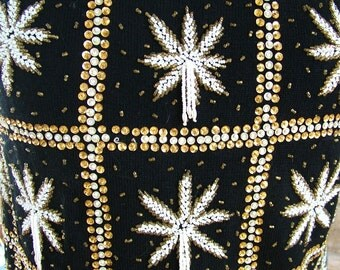 Heavily Beaded British Hong Kong 1960s retro beaded sweater evening top