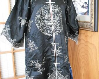 Vintage Asian Silk Embroidered Robe Jacket Black Silver Lingerie Coat Jacket