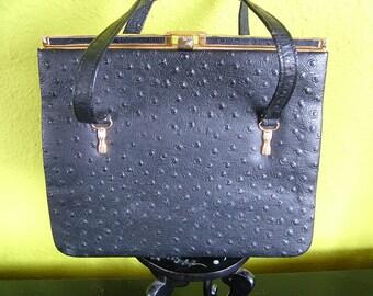 Vintage Ostrich leather purse retro vintage accessories 1940s 1950s 1960s