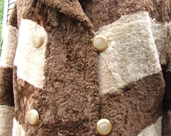 1970s plush pile chocolate and tan fur coat jacket retro rocker coat