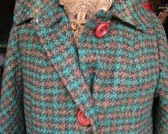 1950s 1960s blue plaid wool coat remarkable style