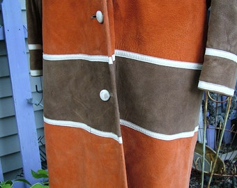 Suede coat 1960s 1970s vintage outerwear in pumpkin and latte suede