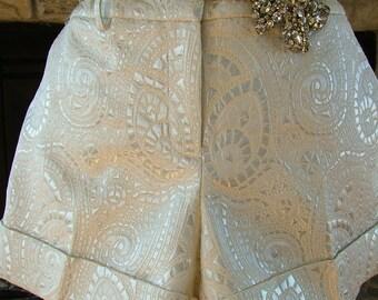 Vintage Hot pants Silver brocade cuffed hem shorts with attitude