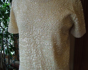 Pearls Sequined British Hong kong beaded sweater shirt blouse Beautiful
