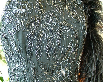 Black beaded evening gown floral design art deco 1930s inspired sheath 1990s vintage