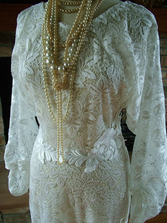 Items similar to handmade 1930s inspired white antique for Antique inspired wedding dresses
