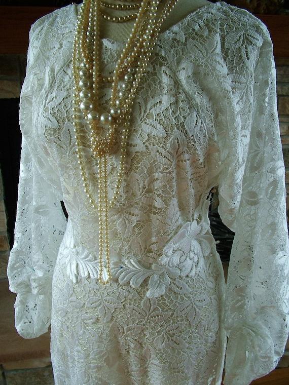 Items similar to handmade 1930s inspired white antique for Antique inspired wedding dresses