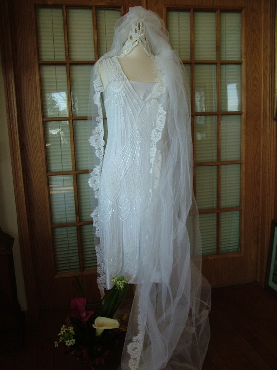 Reserved 1920s Inspired Beaded Pearl Flapper Wedding Dress