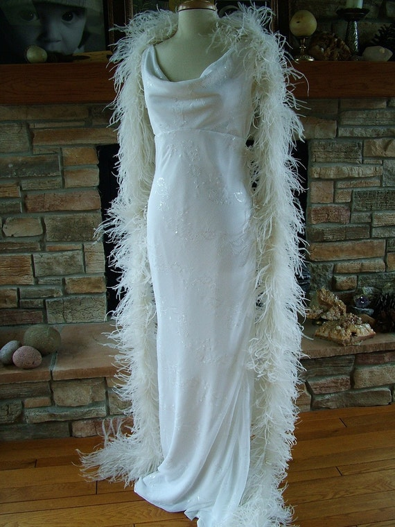 Ostrich Feather LUSH BOA super luxurious  ivory and black