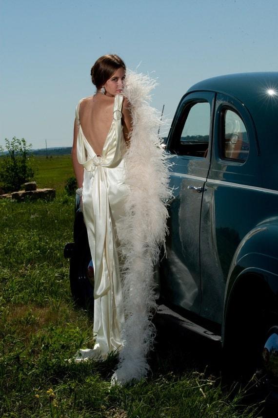 Handmade vintage inspired 1930s satin wedding dress bridal gown jean harlow style