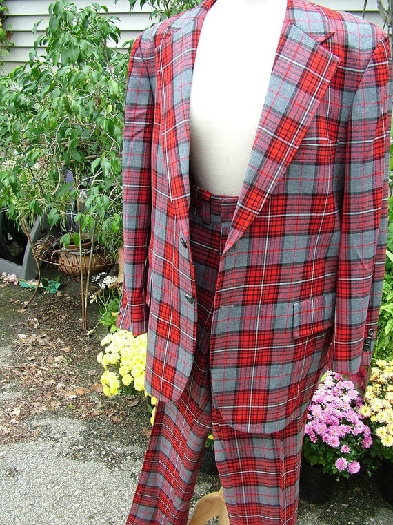 Mens red plaid leisure suit womens unisex halloween or