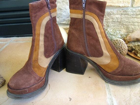 Vintage 1970s platform suede boots shoes multi colored suede booties retro hippie shoes