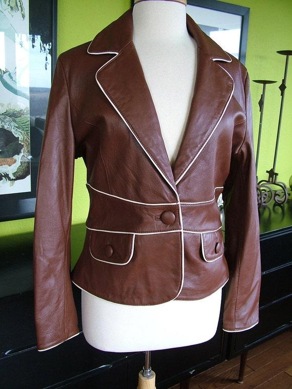 Vintage leather jacket baby butt soft medium