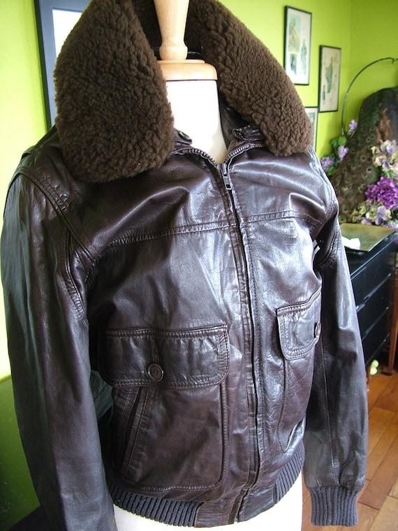 Vintage Bomber style jacket deerskin with pile lining medium size 36