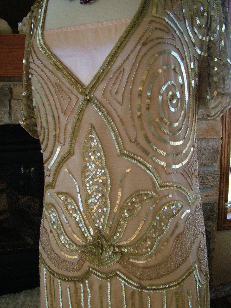 1920s Vintage Inspired Beaded Sequin Flapper Dress Wedding
