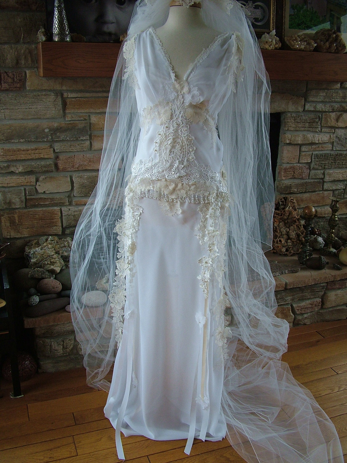 Wedding dress bridal gown fairy wedding dress handmade hand for Wedding dresses for bridesmaid