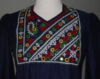 Vintage Embroidered Bohemian Maxi Dress Navy Sz M