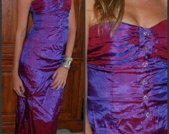 Vintage Iridescent 80s Purple Taffeta Dress Long Two Peice