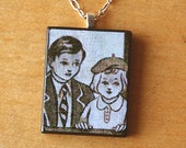 Take Care of Your Sister Handmade Necklace with Wood Pendant of Vintage Schoolchildren Brother and Sister Illustration.