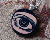 My Soul Necklace with Small Round Wood Pendant with Vintage Illustration of Eye.
