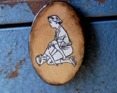 Help Me Momma Magnet of Wood and Resin with Vintage First Aid Illustration of Mom.